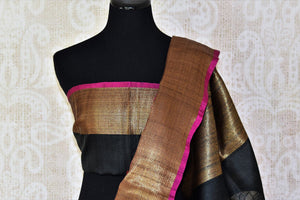 Buy black floral tussar Banarasi sari with zari border online in USA. Adorn yourself in glorious Indian clothing from Pure Elegance Indian clothing store in USA. We have an exclusive range of Indian designer sarees, traditional handloom saris, Banarasi sarees to make your Indian look absolutely captivating.-blouse pallu