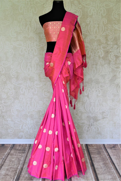 Buy bright pink Banarasi silk sari online in USA with zari buta. Keep it elegant in woven Indian Banarasi silk sarees available at Pure Elegance exclusive Indian fashion store in USA or browse through our website and shop online.-full view