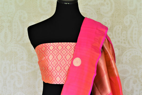 Buy bright pink Banarasi silk sari online in USA with zari buta. Keep it elegant in woven Indian Banarasi silk sarees available at Pure Elegance exclusive Indian fashion store in USA or browse through our website and shop online.-blouse pallu
