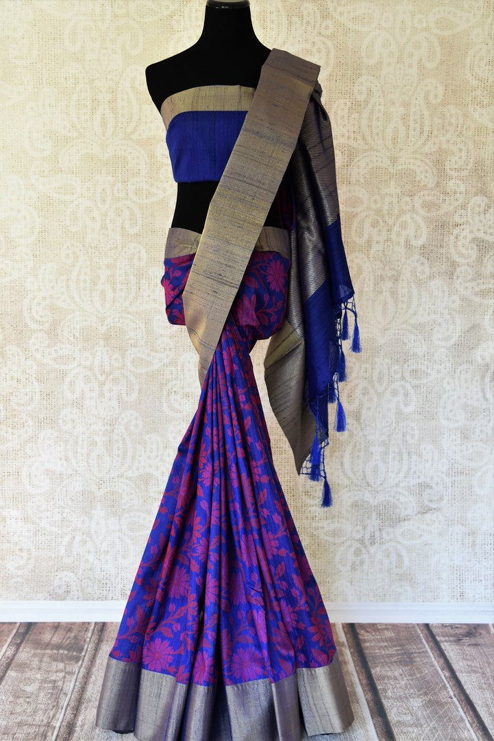 Buy blue floral tussar Banarasi sari with zari border online in USA. Adorn yourself in glorious Indian sarees from Pure Elegance Indian fashion store in USA. We have an exclusive range of Indian designer sarees, traditional handloom saris, Banarasi sarees to make your Indian look absolutely captivating.-full view