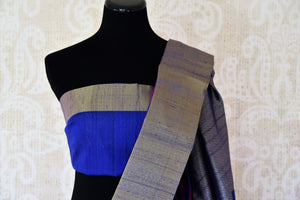 Buy blue floral tussar Banarasi sari with zari border online in USA. Adorn yourself in glorious Indian sarees from Pure Elegance Indian fashion store in USA. We have an exclusive range of Indian designer sarees, traditional handloom saris, Banarasi sarees to make your Indian look absolutely captivating.-blouse pallu
