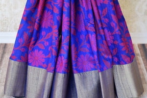 Buy blue floral tussar Banarasi sari with zari border online in USA. Adorn yourself in glorious Indian sarees from Pure Elegance Indian fashion store in USA. We have an exclusive range of Indian designer sarees, traditional handloom saris, Banarasi sarees to make your Indian look absolutely captivating.-pleats