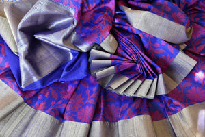 Buy blue floral tussar Banarasi sari with zari border online in USA. Adorn yourself in glorious Indian sarees from Pure Elegance Indian fashion store in USA. We have an exclusive range of Indian designer sarees, traditional handloom saris, Banarasi sarees to make your Indian look absolutely captivating.-details