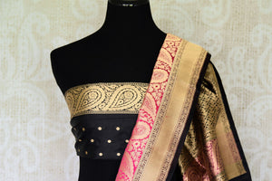 The charming pink banarsi silk authentic saree is your knight in shining armour. The woven floral buta work and rich zari border adds a touch of glamour. Style this sari with a contrast black buta work designer blouse. Shop designer silk saree, georgette sari, chiffon sari online or visit Pure Elegance store, USA. -blouse pallu