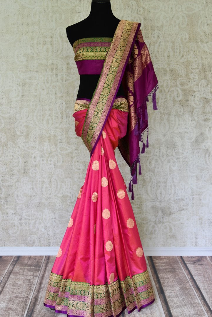 Buy pink silk katan Banarasi saree online in USA with zari border and zari buta. Go for an out and out rich traditional look with a splendid collection of Indian designer silk sarees, Benarasi sarees, wedding sarees from Pure Elegance Indian clothing store in USA or shop online.-full view