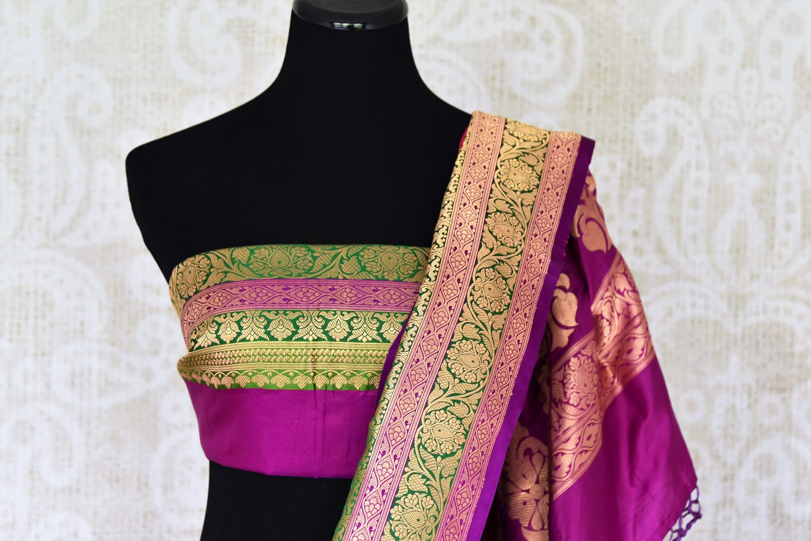 Buy pink silk katan Banarasi saree online in USA with zari border and zari buta. Go for an out and out rich traditional look with a splendid collection of Indian designer silk sarees, Benarasi sarees, wedding sarees from Pure Elegance Indian clothing store in USA or shop online.-blouse pallu