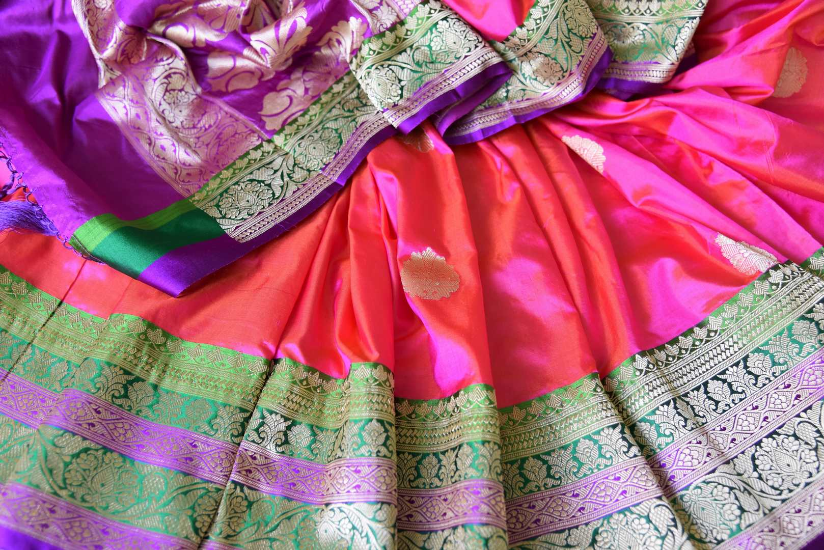 Buy pink silk katan Banarasi saree online in USA with zari border and zari buta. Go for an out and out rich traditional look with a splendid collection of Indian designer silk sarees, Benarasi sarees, wedding sarees from Pure Elegance Indian clothing store in USA or shop online.-details