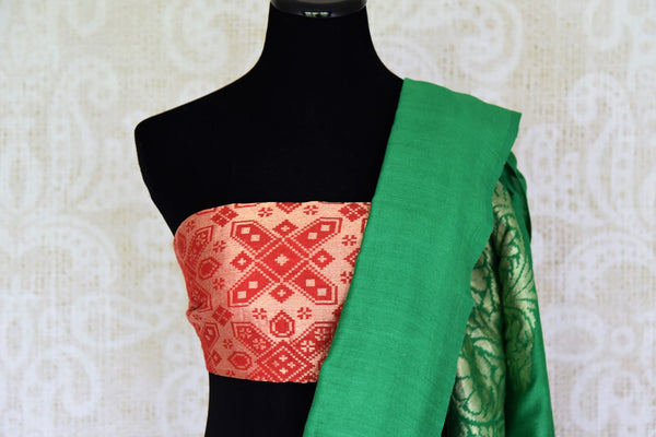 Satiate your saree appetite in this green muga silk drapery with a gorgeous silver zari work designed on the pallu. Style this piece with a statement red zari designer blouse to add a pop of color. Shop handcrafted silk saris, linen saree, chiffon saree online or visit Pure Elegance store, USA.-blouse pallu