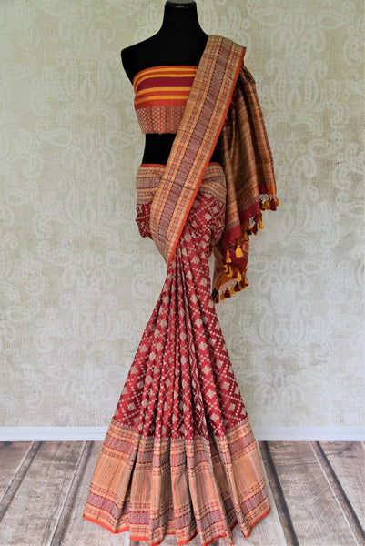 Buy red Banarasi silk saree online in USA with overall zari work. Keep it elegant in woven Indian Banarasi silk sarees available at Pure Elegance exclusive Indian fashion store in USA or browse through our website and shop online.-full view