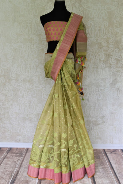 Buy light green organza Banarasi saree online in USA with pink border. Add beautiful Indian Banarasi sarees from Pure Elegance Indian clothing store in USA to your ethnic wardrobe now. You can also shop online at the comfort of your home.-full view