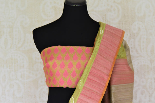 Buy light green organza Banarasi saree online in USA with pink border. Add beautiful Indian Banarasi sarees from Pure Elegance Indian clothing store in USA to your ethnic wardrobe now. You can also shop online at the comfort of your home.-blouse pallu
