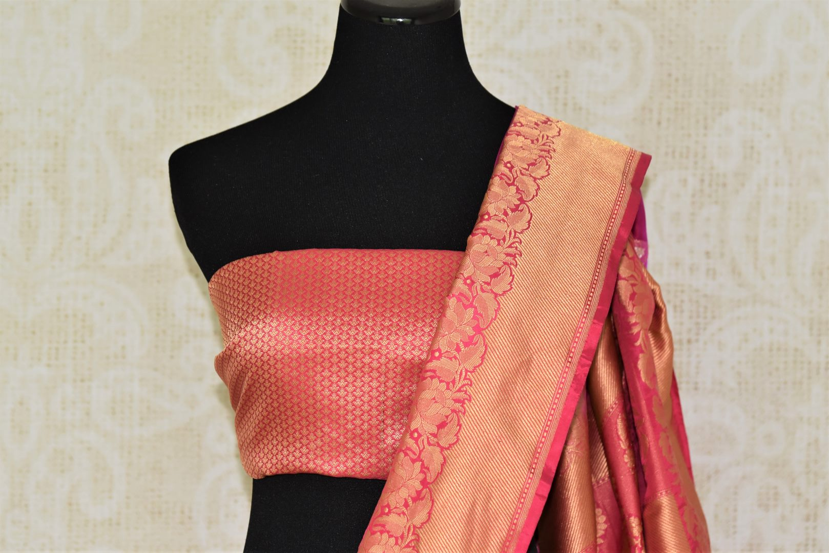 Buy beautiful magenta Banarasi silk sari online in USA with zari border. Add beautiful Indian wedding sarees to your ethnic wardrobe from Pure Elegance Indian clothing store in USA. You can also shop online at the comfort of your home.-blouse pallu