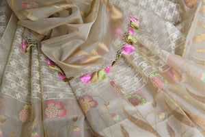 Buy cream organza Banarasi saree online in USA with check design. Give your Indian look an extra style edge with beautiful Indian designer sarees available at Pure Elegance Indian clothing store in USA or shop online.-details