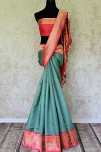 90G176-RO Green Banarasi Silk Designer Saree with Red Zari Border