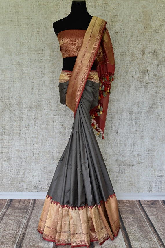 Drape the scintillating grey banarsi silk designer sari to unfold your earthy charm. It comes with a stunning deep red zari border and rich handwoven red zari blouse that complements well with the nine yards of joy. Shop handcrafted silk sari, chiffon saree, georgette saree online or visit Pure Elegance store, USA.-blouse full pic