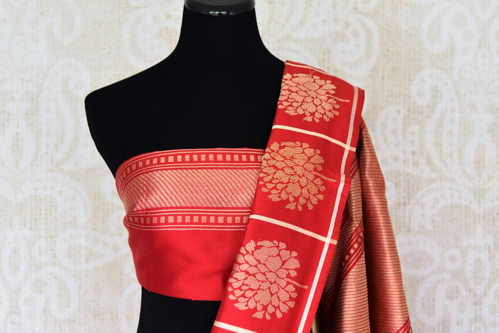 Off-white Banarasi silk saree with red zari buta border buy online in USA. Adorn your style with a range of exquisite handloom sarees from Pure Elegance Indian clothing store in USA. We have an exquisite range of Indian designer sarees, silk sarees, Banarasi saris and many other varieties also available at our online store.-blouse pallu