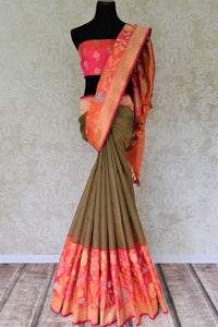 Buy brown check Banarasi silk saree online in USA with pink floral zari border. Give your Indian look an extra style edge with beautiful Indian designer silk saris available at Pure Elegance Indian clothing store in USA or shop online.-full view