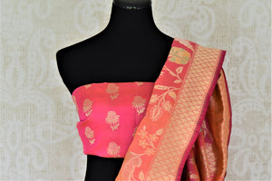Buy brown check Banarasi silk saree online in USA with pink floral zari border. Give your Indian look an extra style edge with beautiful Indian designer silk saris available at Pure Elegance Indian clothing store in USA or shop online.-blouse pallu