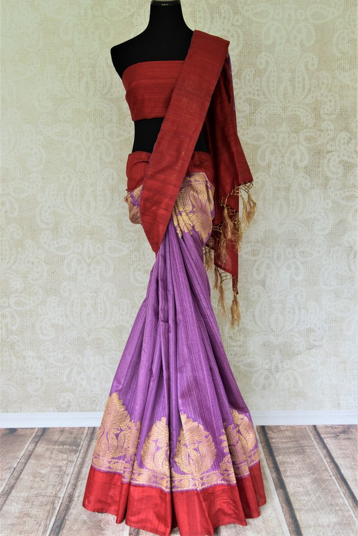 Buy purple matka Banarasi saree online in USA with red border. Give your Indian look an elegant touch with beautiful Indian Banarasi sarees available at Pure Elegance Indian clothing store in USA or shop online.-full view