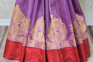Buy purple matka Banarasi saree online in USA with red border. Give your Indian look an elegant touch with beautiful Indian Banarasi sarees available at Pure Elegance Indian clothing store in USA or shop online.-pleats
