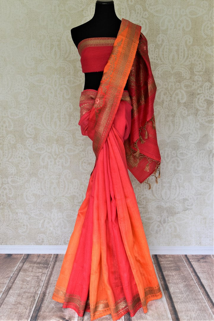 Buy pink and orange double shade matka Banarasi saree online in USA. Give your look an elegant touch with beautiful Indian designer sarees available at Pure Elegance Indian clothing store in USA or shop online.-full view