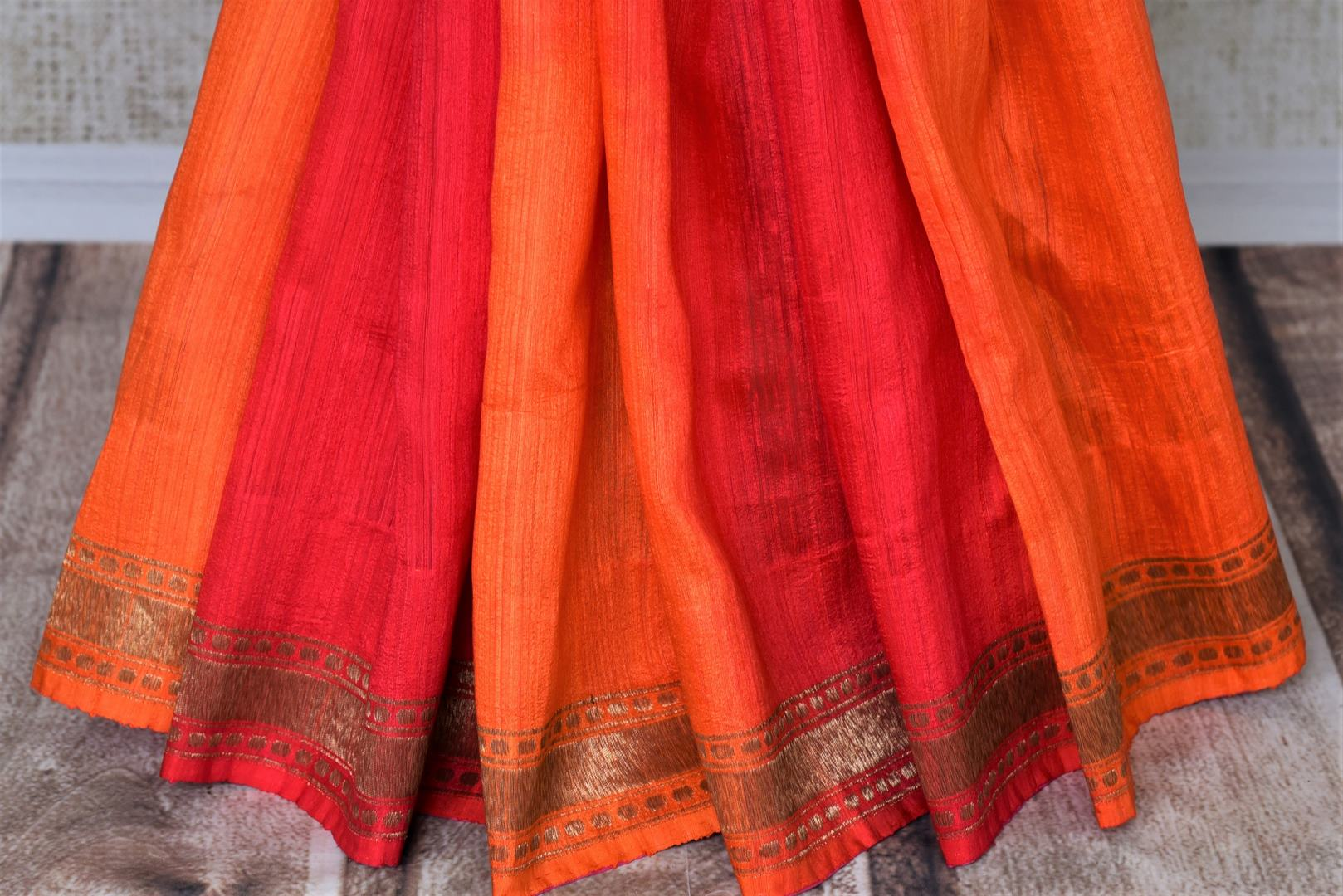 Buy pink and orange double shade matka Banarasi saree online in USA. Give your look an elegant touch with beautiful Indian designer sarees available at Pure Elegance Indian clothing store in USA or shop online.-pleats