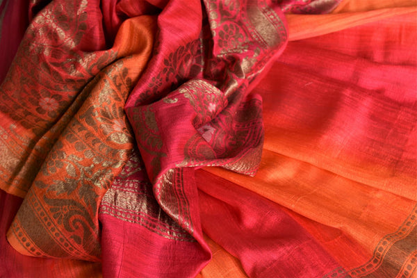 Buy pink and orange double shade matka Banarasi saree online in USA. Give your look an elegant touch with beautiful Indian designer sarees available at Pure Elegance Indian clothing store in USA or shop online.-details