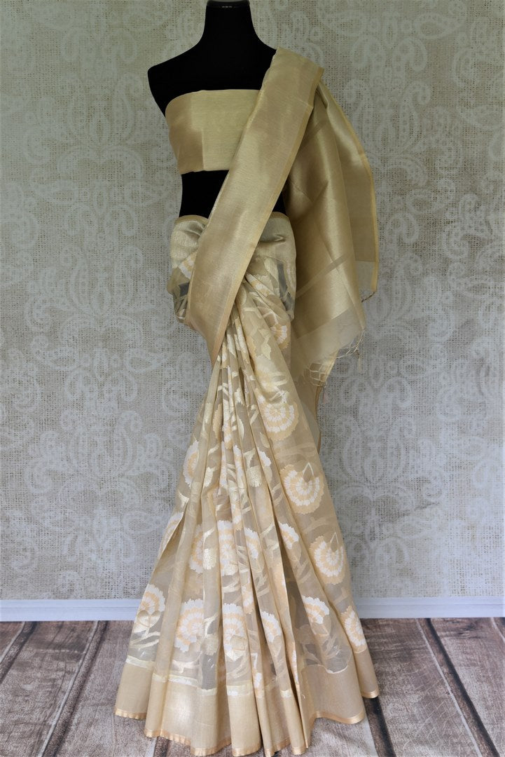 Shop online cream organza Banarasi sari in USA with floral design. Give your look an elegant touch with beautiful Indian designer saris available at Pure Elegance Indian fashion store in USA or shop online.-full view