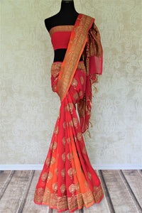Buy online pink and orange georgette Banarasi saree in USA with floral design. Give your look an elegant touch with beautiful Indian sarees available at Pure Elegance Indian fashion store in USA or shop online.-full view