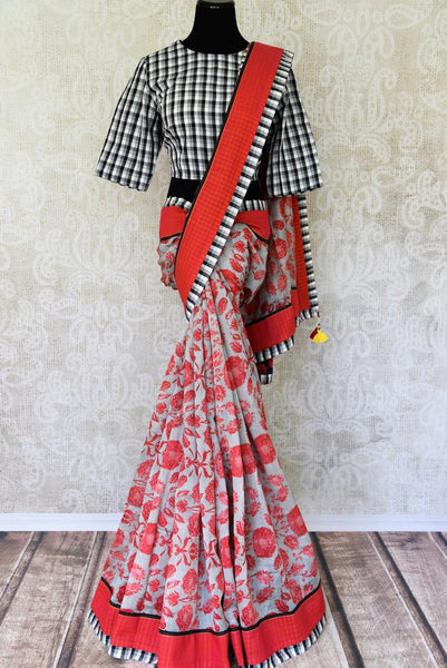 Buy grey linen sari online in USA with floral design and applique work. Add tasteful Indian woven sarees to your ethnic wardrobe from Pure Elegance Indian fashion store in USA. We have an exclusive range of Indian designer sarees, wedding saris, handloom sarees to make your Indian look absolutely captivating.-full view