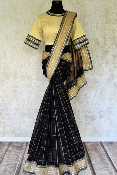 Buy black check linen saree with saree blouse online in USA and embroidered border. Add tasteful Indian woven saris to your ethnic wardrobe from Pure Elegance Indian fashion store in USA. We have an exclusive range of Indian designer sarees, wedding saris, handloom sarees to make your Indian look absolutely captivating.-full view