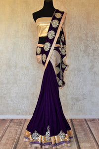 Shop designer purple embroidered shimmer saree online in USA. Shop more such exquisite Indian saris in USA from Pure Elegance. Get floored by a range of designer sarees, pure silk sarees, Kanchipuram silk saris at our Indian fashion store in USA.-full view
