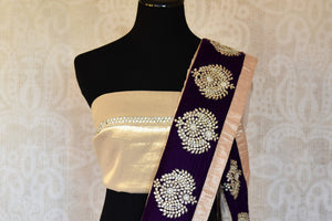 Shop designer purple embroidered shimmer saree online in USA. Shop more such exquisite Indian saris in USA from Pure Elegance. Get floored by a range of designer sarees, pure silk sarees, Kanchipuram silk saris at our Indian fashion store in USA.-blouse pallu