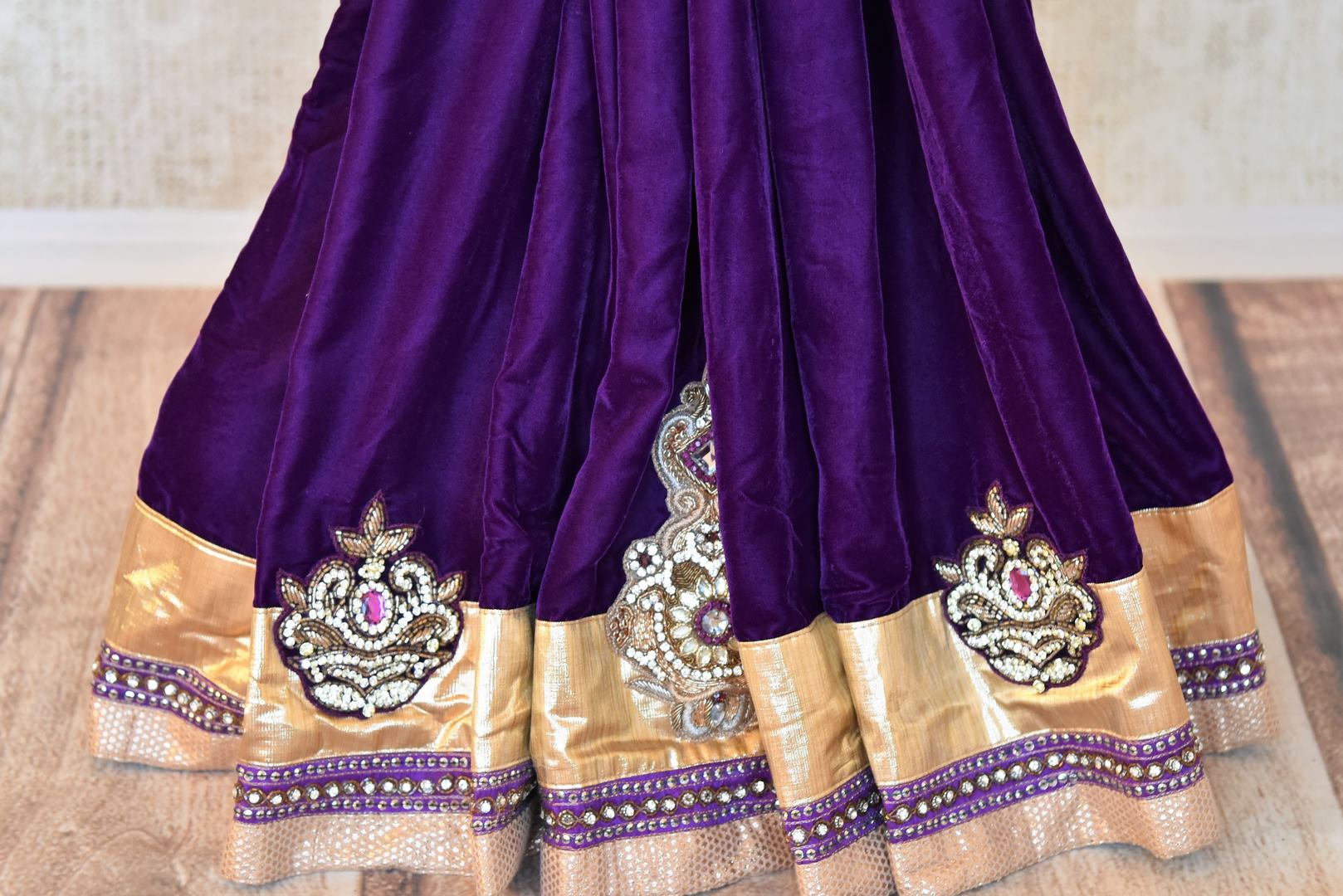 Shop designer purple embroidered shimmer saree online in USA. Shop more such exquisite Indian saris in USA from Pure Elegance. Get floored by a range of designer sarees, pure silk sarees, Kanchipuram silk saris at our Indian fashion store in USA.-pleats
