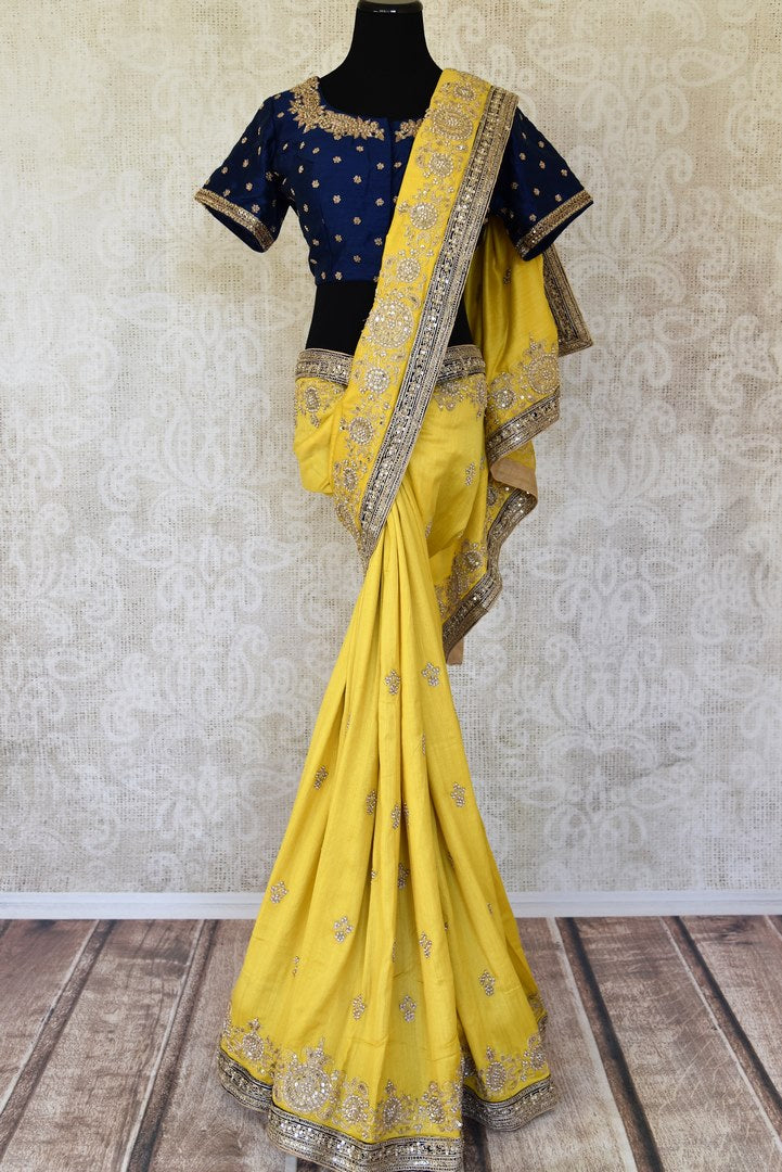 Buy yellow embroidered muga sari with saree blouse online in USA from Pure Elegance. Make your ethnic style perfect with a range of exquisite Indian designer saris with blouses, embroidered sarees, handloom saris available at our exclusive Indian fashion store in USA and also on our online store. Shop now.-full view