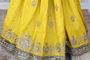 Buy yellow embroidered muga sari with saree blouse online in USA from Pure Elegance. Make your ethnic style perfect with a range of exquisite Indian designer saris with blouses, embroidered sarees, handloom saris available at our exclusive Indian fashion store in USA and also on our online store. Shop now.-pleats