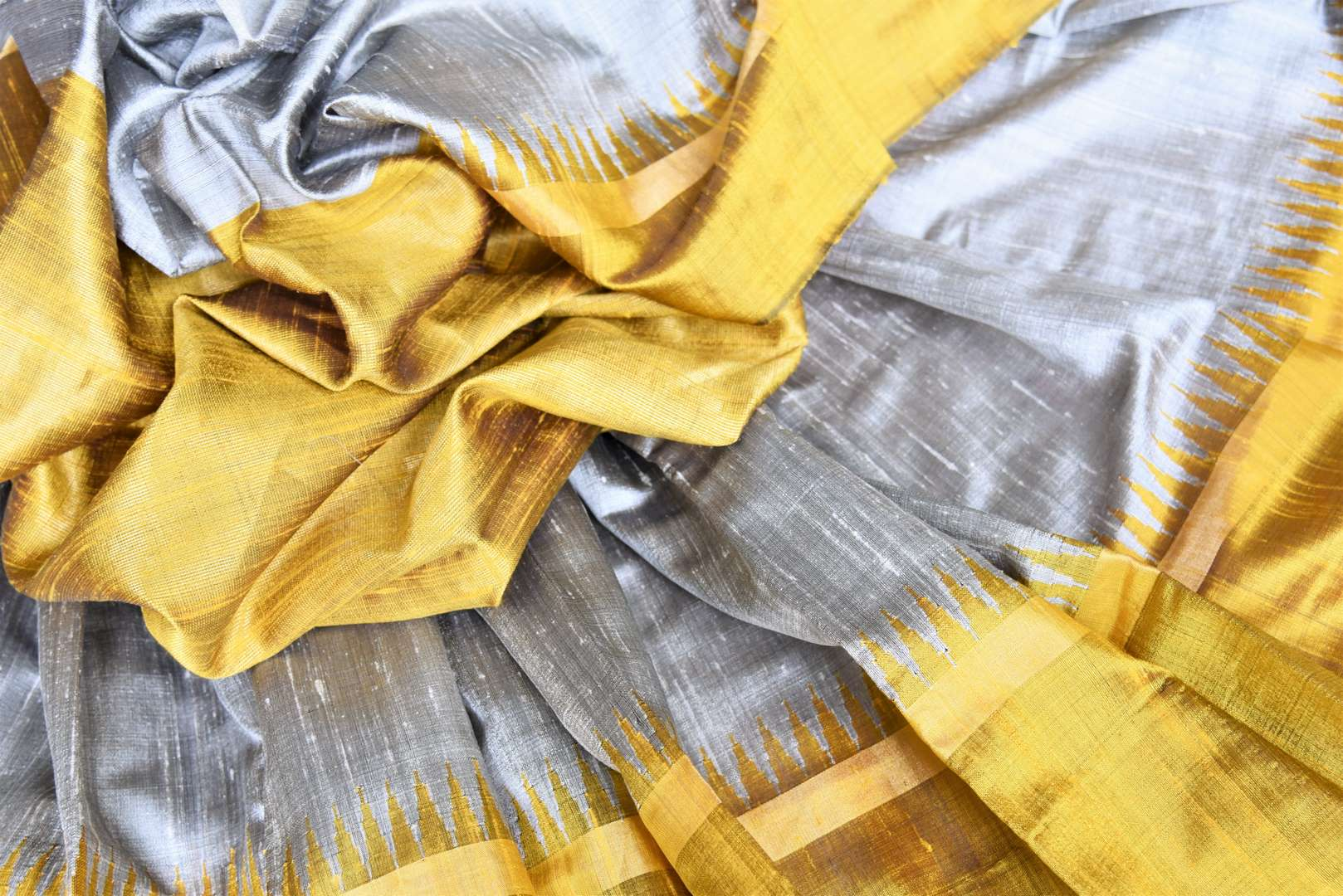 Buy grey tussar dupion silk sari online in USA with mustard yellow border. Add grace to your ethnic look with Indian designer silk sarees available at Pure Elegance Indian clothing store for women in USA or shop online.-details