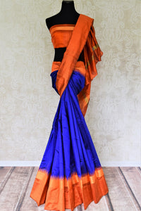 90G254 Blue Tussar Dupion Saree with Red Temple Border