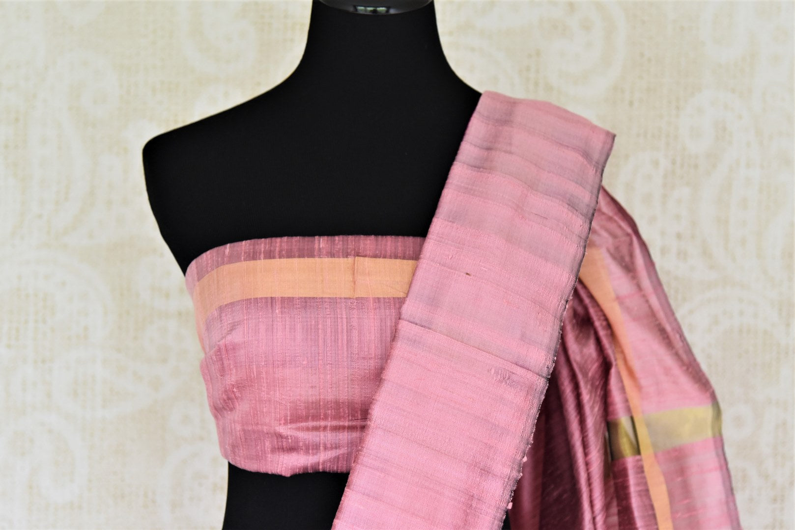 Buy bright magenta tussar dupion silk sari online in USA with mauve temple border. Shine in beautiful Indian designer silk saris available at Pure Elegance Indian clothing store for women in USA or shop online.-blouse pallu