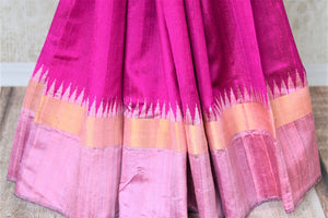 Buy bright magenta tussar dupion silk sari online in USA with mauve temple border. Shine in beautiful Indian designer silk saris available at Pure Elegance Indian clothing store for women in USA or shop online.-pleats