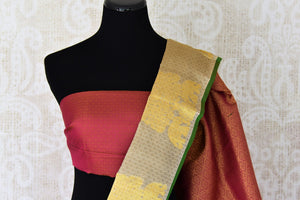 Buy traditional beige Kanjivaram silk saree online in USA with zari buta and maroon pallu. Make your Indian saree look rich with beautiful Indian Kanchipuram sarees from Pure Elegance Indian clothing in USA or shop online.-blouse pallu