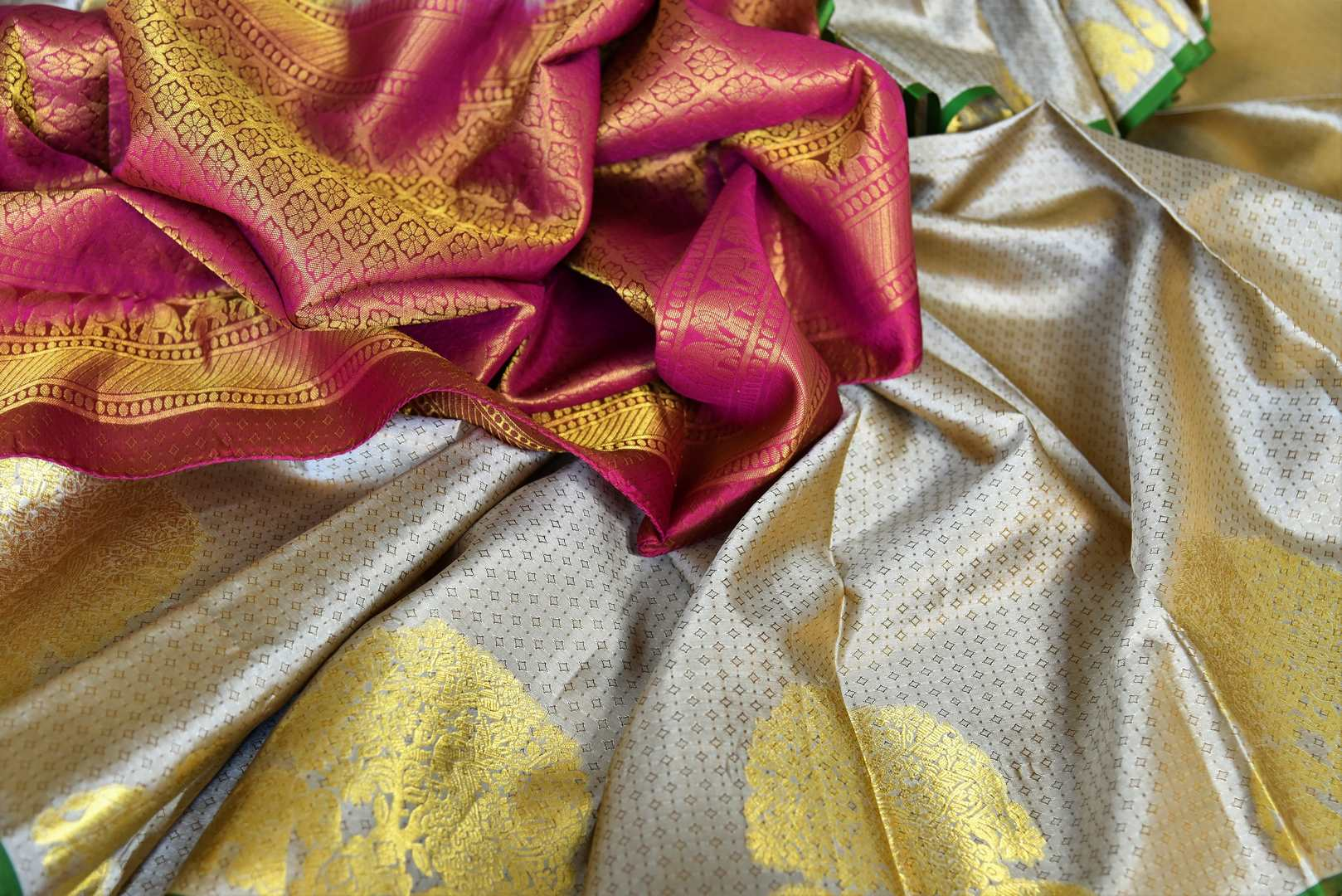 Buy traditional beige Kanjivaram silk saree online in USA with zari buta and maroon pallu. Make your Indian saree look rich with beautiful Indian Kanchipuram sarees from Pure Elegance Indian clothing in USA or shop online.-details