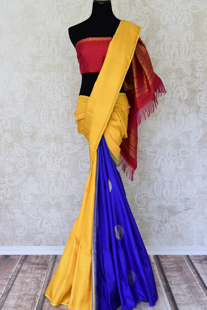 Buy online yellow and blue Kanchipuram silk saree in USA with pink zari pallu and zari buta.  For all the Indian women in USA who love Indian clothing and sarees, Pure Elegance clothing store in USA brings an exquisite collection of designer silk sarees, Kanjivaram sarees online and in their store. Shop now.-full view