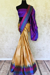 Buy cream color Kanjeevaram silk saree online in USA with blue temple border. Make your Indian saree look rich with beautiful Indian Kanchipuram saris from Pure Elegance Indian clothing in USA or shop online.-full view