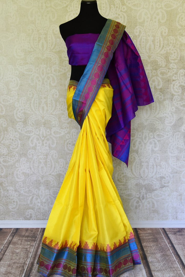 Buy yellow color Kanjivaram silk saree online in USA with temple border. Make your Indian saree look rich with beautiful Indian Kanchipuram silk saris from Pure Elegance Indian clothing in USA or shop online.-full view