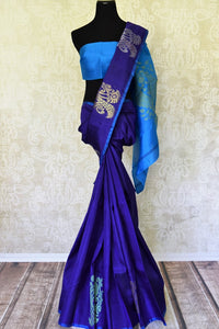 Shop dark blue Kanjeevaram silk saree with zari buta online in USA. Adorn your style with a range of exquisite Kanchipuram sarees from Pure Elegance Indian clothing store in USA. We have an exquisite range of Indian designer sarees, silk saris, Banarasi saris and many other varieties also available at our online store.-full view