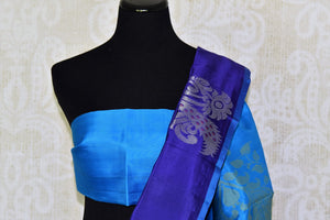 Shop dark blue Kanjeevaram silk saree with zari buta online in USA. Adorn your style with a range of exquisite Kanchipuram sarees from Pure Elegance Indian clothing store in USA. We have an exquisite range of Indian designer sarees, silk saris, Banarasi saris and many other varieties also available at our online store.-blouse pallu