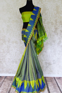 Green and blue Kanchipuram silk saree buy online in USA with temple border. Add the richness of Indian culture to your saree look with Kanjeevaram silk sarees, Indian designer sarees from Pure Elegance Indian clothing store in USA or shop online.-full view