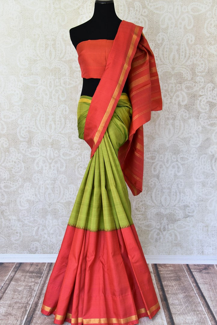 Shop green and red color Kanjivaram silk saree online in USA. Make your Indian saree look rich with beautiful Indian Kanchipuram silk sarees from Pure Elegance Indian clothing in USA or shop online.-full view