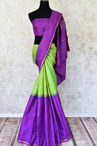 Shop green and purple color Kanchipuram silk saree online in USA. Make your Indian saree look rich with beautiful Indian Kanjeevaram silk sarees from Pure Elegance Indian clothing in USA or shop online.-full view